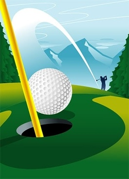 hole golf course a vector
