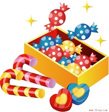 holiday gifts background candies icons colorful 3d design