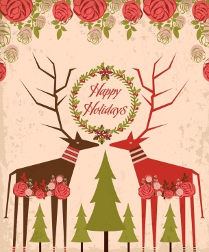 holiday greeting background reindeer tree icons roses decoration