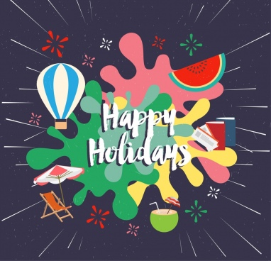 holiday greeting banner fruits icons multicolored grunge style