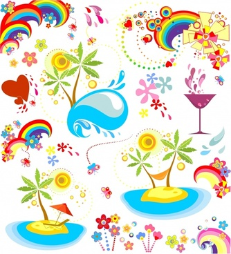 holiday design elements island sea wave rainbow icons