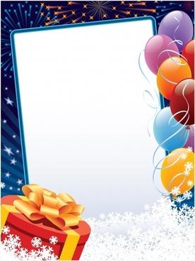 festive banner template balloon fireworks gift snowflakes frame