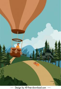 holiday poster balloon adventure sketch cartoon design