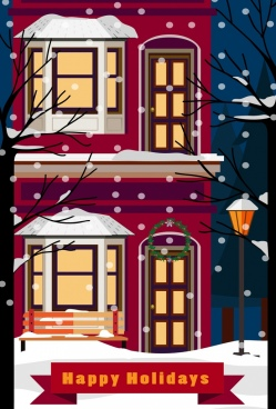 holiday poster winter background falling snow house icons