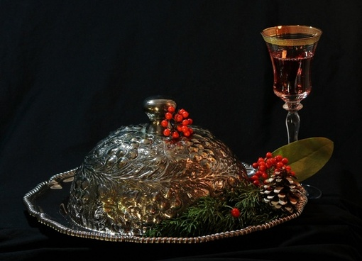 holiday still life christmas party edwardian silver repousse