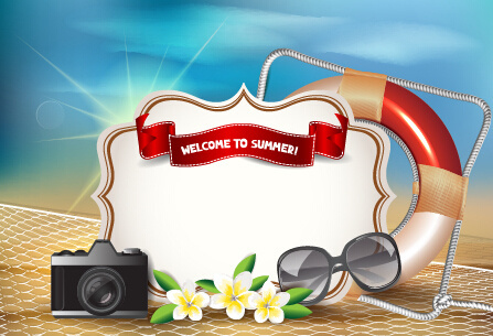 holiday summer travel sea background vector