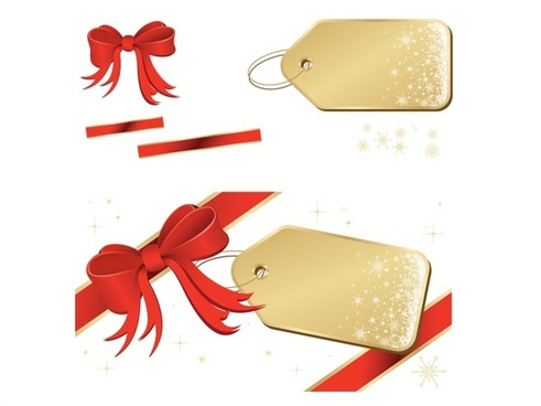golden tags with red ribbon vector illustration