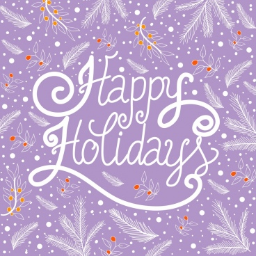 holidays background violet decor plants calligraphy design