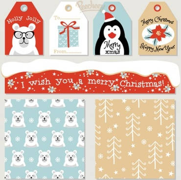 holidays labels and seamless patterns