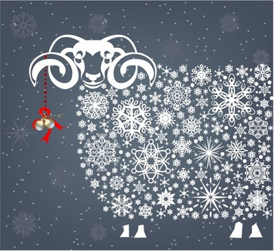 Holidays snowflakes sheep