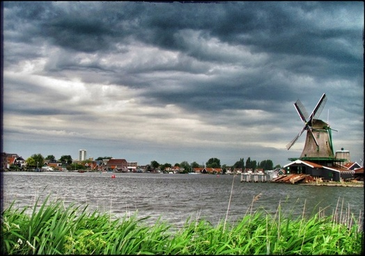 holland zaanse schans windmill