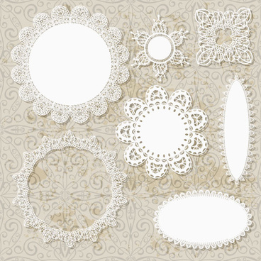 hollow floral ornaments and lace vector