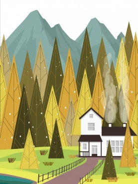home background nature mountain forest landscape icons decor