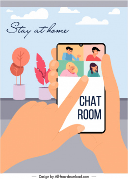 home chat application banner smartphone people icons sketch