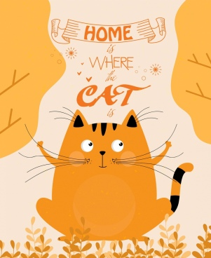 home concept banner cute cat icon orange decor