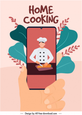 home cooking banner smartphone cook sketch classical design