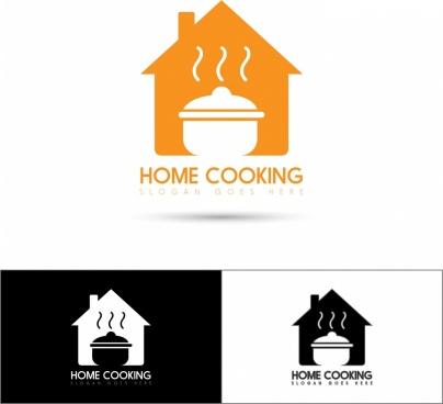 home cooking logo sets house pot icons decoration