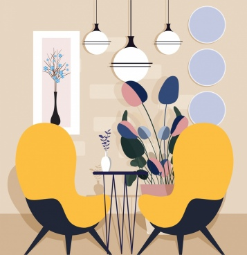home decor background chair light table flowerpot icons