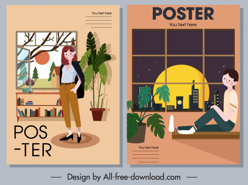 home decor posters furniture person sketch cartoon design