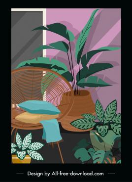 home decor template colored retro sketch