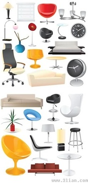 home furniture icons colored modern 3d sketch