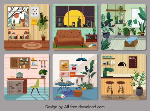 home furniture decor template colorful cosy design