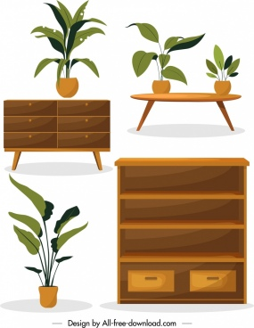 home furniture design elements shelf table pots icons