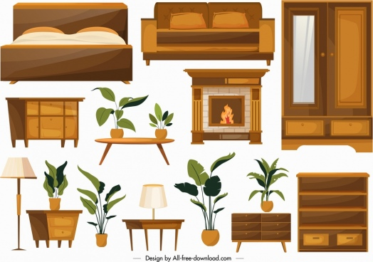 home furniture icons classical wooden objects