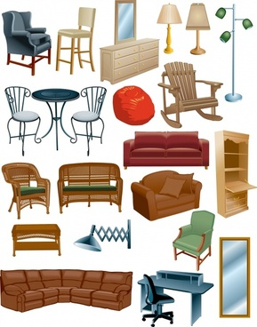 home furniture icons colored modern design