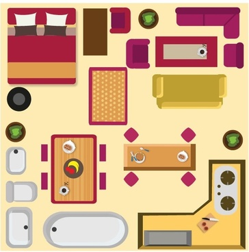 home furnitures arrangement sketch with colored flat style