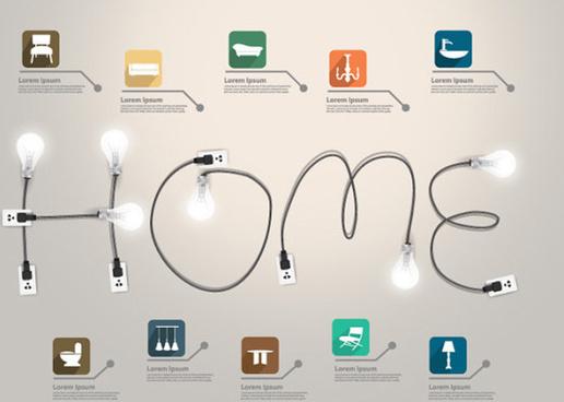 home infographics elements vector