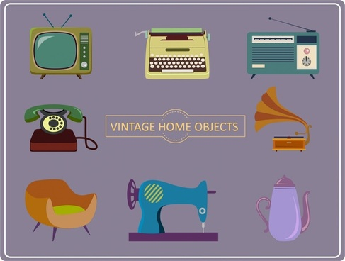 home objects icons illustration with vintage style