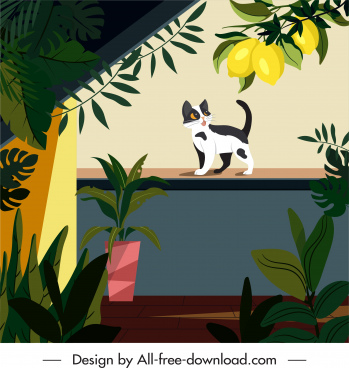 home painting cat garden balcony sketch colorful classical