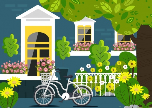 home painting exterior garden bicycle icons colorful decor
