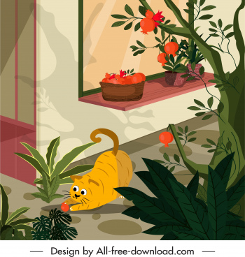 home pet painting playful cat houseplants sketch