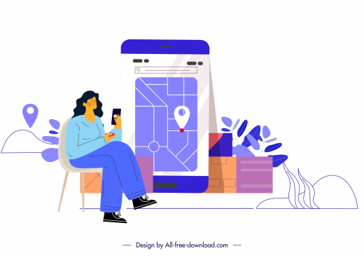 home shipping background customer smartphone application sketch