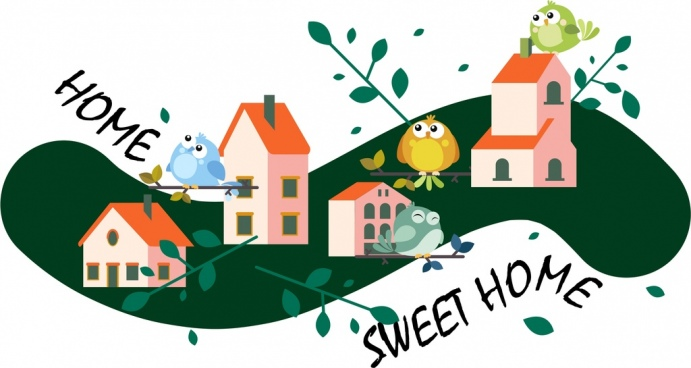home sweet home background cute birds houses icons