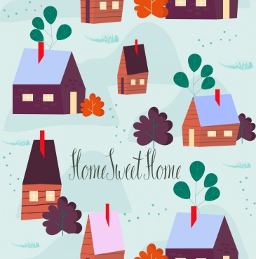 home sweet home background cute cottage icons