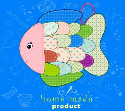 homemade toy advertising colorful fabric fish icon