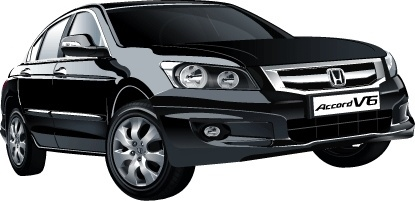 accord car advertisment design realistic black sedan type
