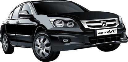 accord car advertisment design realistic black sedan type