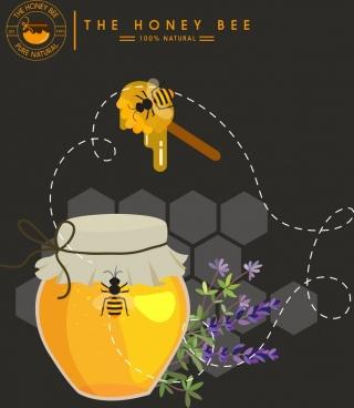 honey advertisement jar bee stick comb icons decor