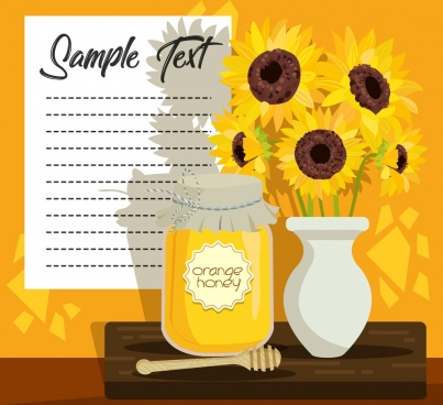 honey advertising banner sunflowers pot decoration