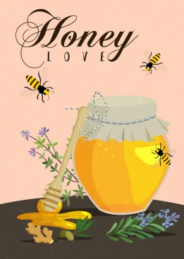 honey advertising calligraphy bees stick jar flowers decor