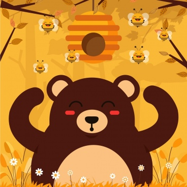 honey bear background cute stylized cartoon characters