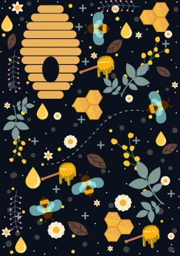 honey bee background colored flat icons repeating design