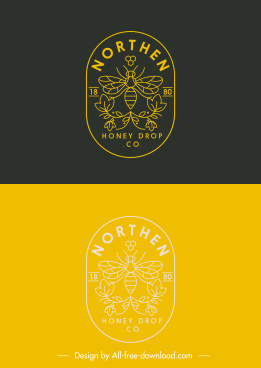 honey bee logo template flat handdrawn symmetry sketch
