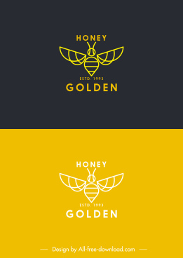 honey bee logotypes classic flat handdrawn sketch