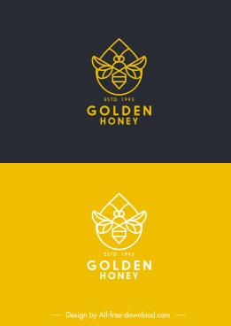 honey bee logotypes flat symmetric handdrawn sketch