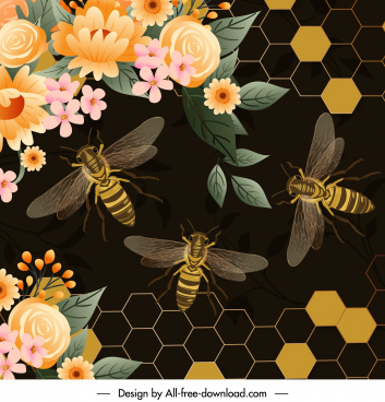 honey bees background colorful design dark modern